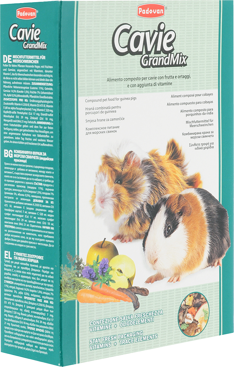 Корм Padovan Cavie Grandmix, для морских свинок с витамином С, 850 г padovan корм padovan lino для птиц зёрна льна 1 кг