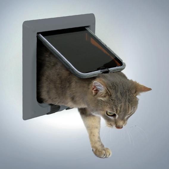 "Дверца для кошки ""Trixie"", с 4 функциями, цвет: серый, 16,5 х 17,4 см"
