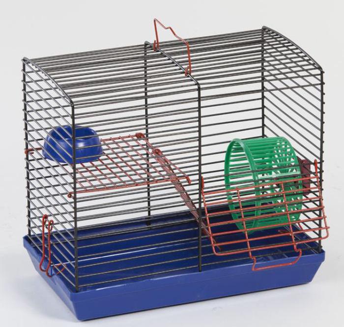 Клетка для джунгариков Велес, двухэтажная, с колесом и миской, цвет: синий поддон, черная решетка, 26 х 14 х 23 см клетка для грызунов велес с полками цвет серый 40 х 58 х 45 см