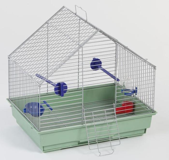 Клетка для птиц Велес Lusy Fly, разборная, цвет: серебристый, 30 х 42 х 40 см клетка для грызунов велес с полками цвет серый 40 х 58 х 45 см