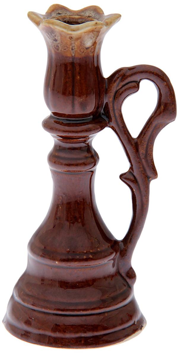 Подсвечник Керамика ручной работы Лотос, цвет: темно-коричневый, 8 х 7 х 16 см набор винный керамика ручной работы ружье 7 предметов
