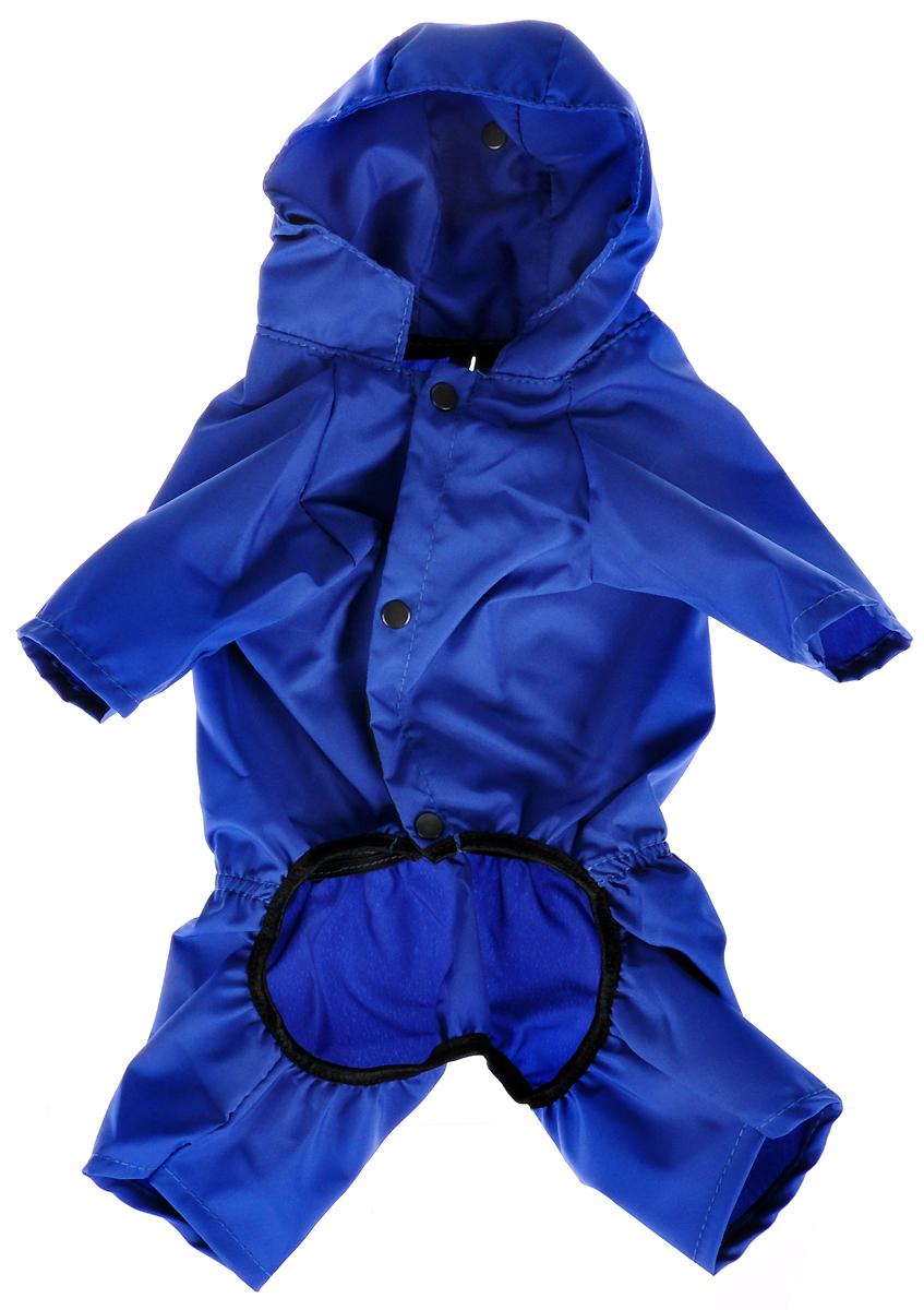 Дождевик прогулочный для собак GLG Бабочка, цвет: синий. Размер S