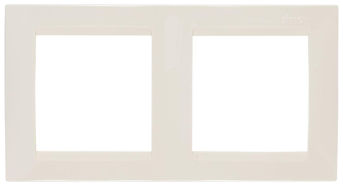 Рамка Simon Electric, 2 поста, цвет: бежевый рамка для розеток и выключателей bjb basic55 2 поста цвет чёрный