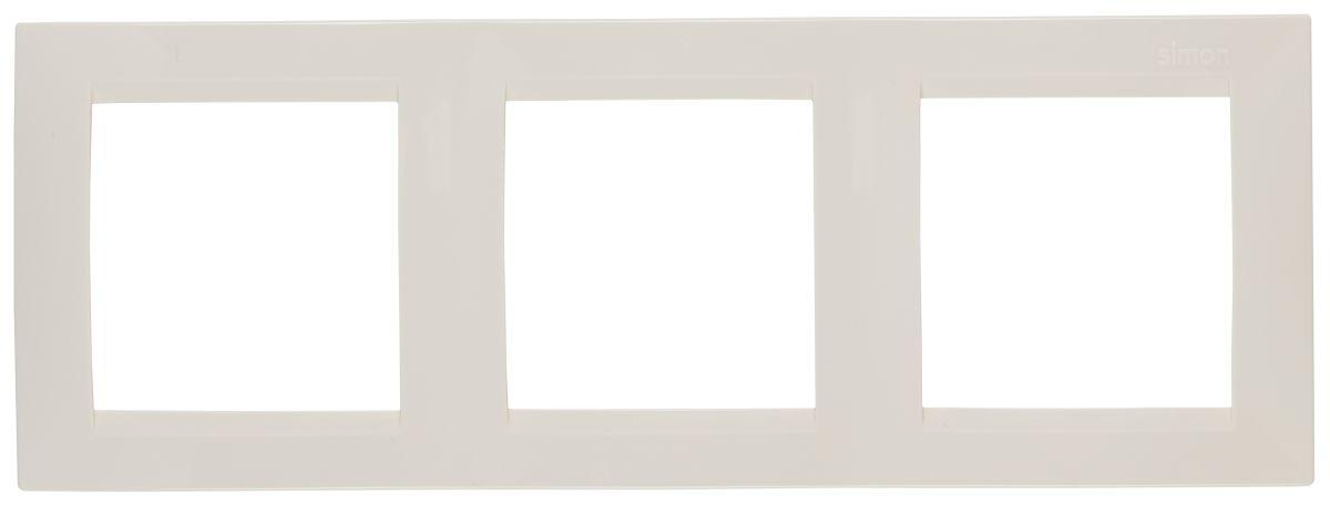 Рамка Simon Electric 3 поста, цвет: бежевый simon simon 82 nature сталь матовая графит металл рамка на 1 пост 82817 31