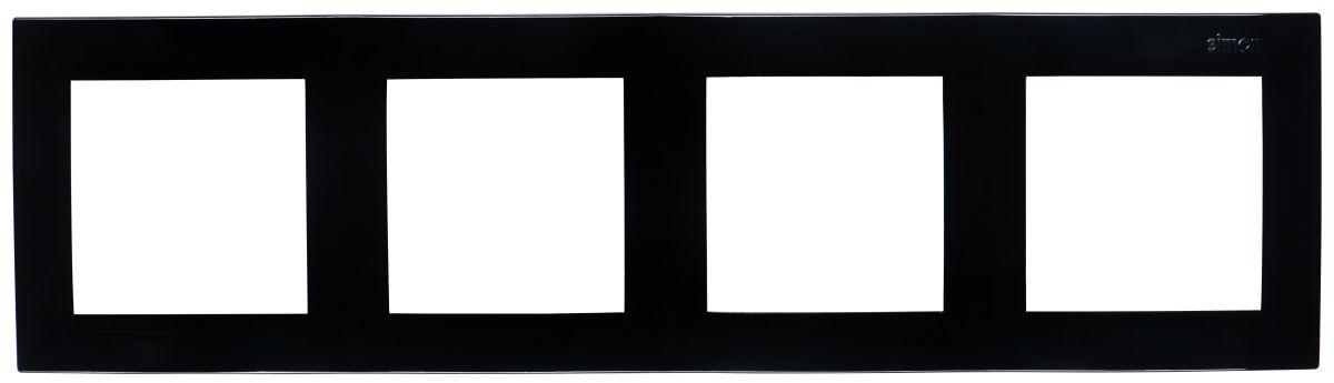 Рамка Simon Electric, 4 поста, цвет: черный simon simon 82 nature сталь матовая графит металл рамка на 1 пост 82817 31
