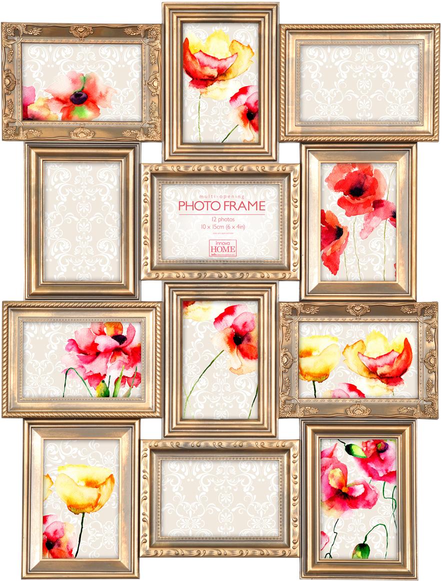 Фоторамка Innova Maggiore, на 12 фото, цвет: золото. PI07216 рамка для фото innova maggiore v 10х15 10 pi1196