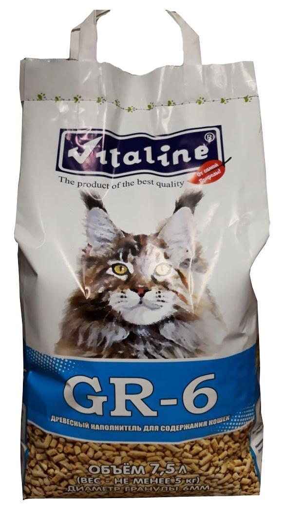 Наполнитель для туалета Vitaline GR-6 для крупных кошек, древесный, 5 кг наполнитель для кошачьего туалета vitaline из лиственных пород древесины 4 5 л