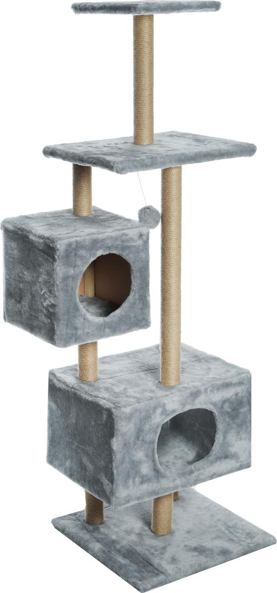 Домик-когтеточка Меридиан, квадратный, с площадкой и полкой, цвет: светло-серый, 65 х 51 х 173 см домик когтеточка меридиан угловой с игрушками цвет светло серый 65 х 41 х 131 см