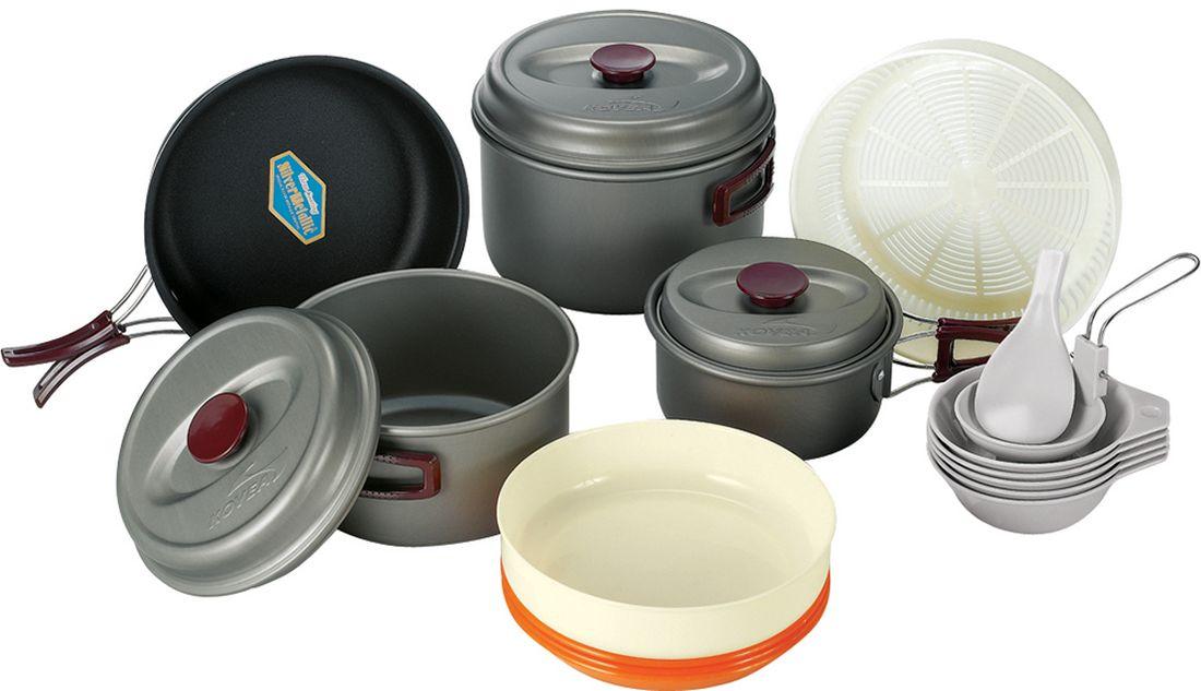 Набор походной посуды Kovea, цвет: серый, оранжевый, коричневый, 20 предметов набор походной посуды tatonka picnic set 9 предметов