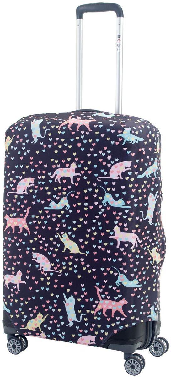 Чехол для чемодана Mettle Kity, цвет: темно-синий. Размер M (высота чемодана: 65-75 см) чехол для чемодана mettle творческо размер m высота чемодана 55 70 см