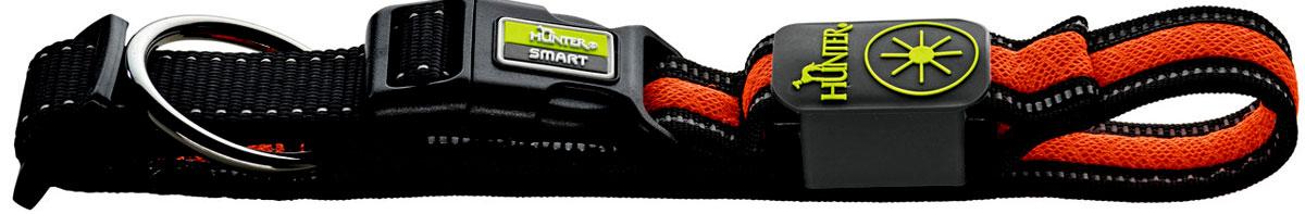 Ошейник Hunter LED Manoa Glow, cветящийся, цвет: черный, оранжевый, размер: L (55-60 см)