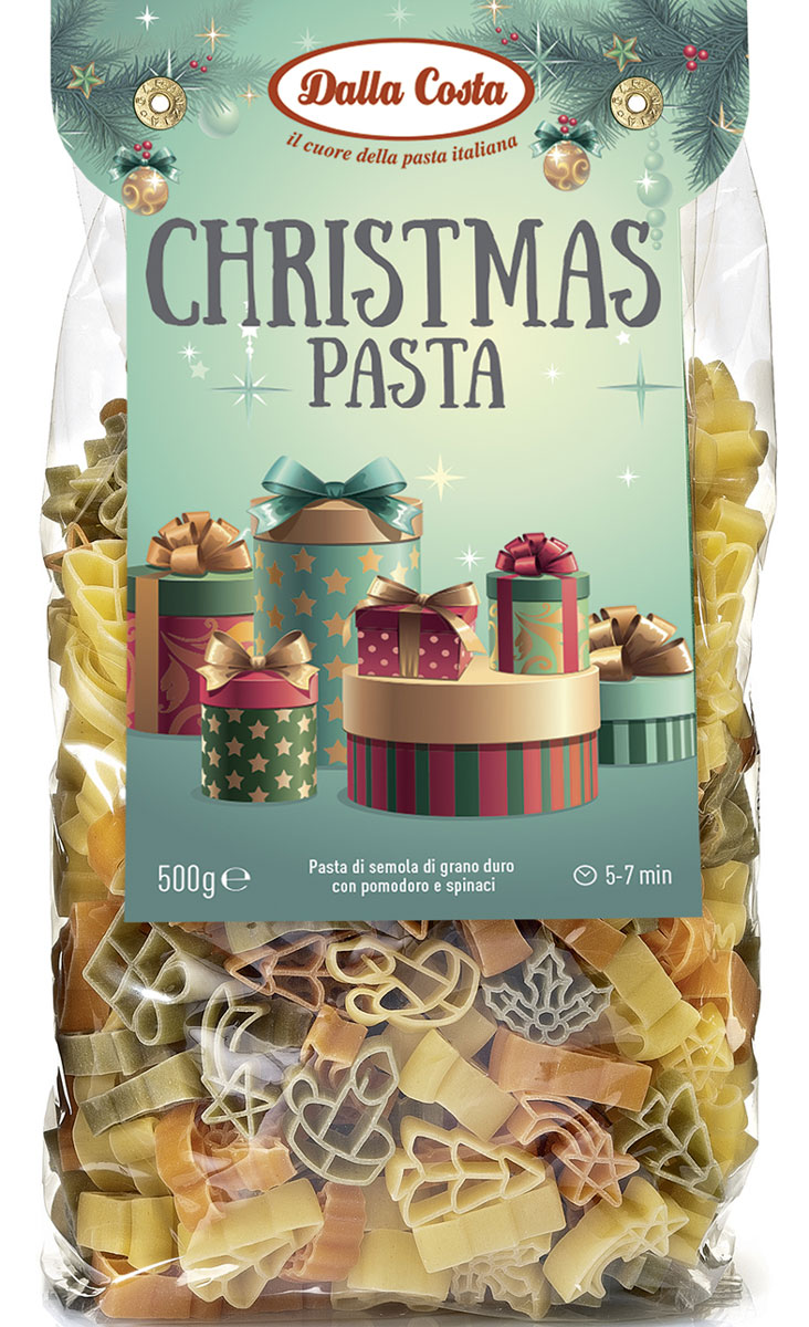 Dalla Costa паста без яиц Рождество со шпинатом и томатами, 250 г
