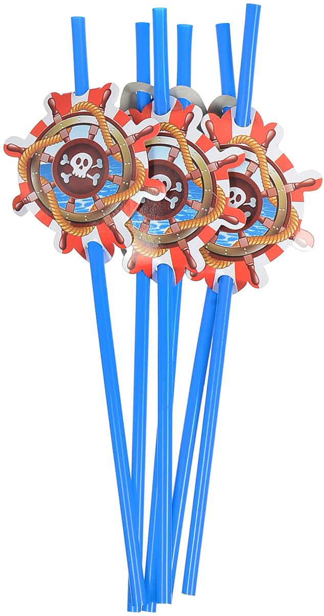 Пати Бум Набор трубочек Веселый Пират цвет синий 6 шт пати бум столовые приборы цвет синий 18 шт