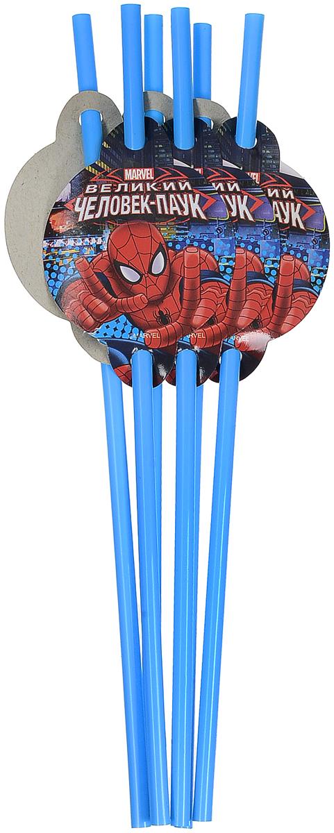 Пати Бум Набор трубочек Человек-Паук цвет голубой 6 шт пати бум столовые приборы цвет синий 18 шт