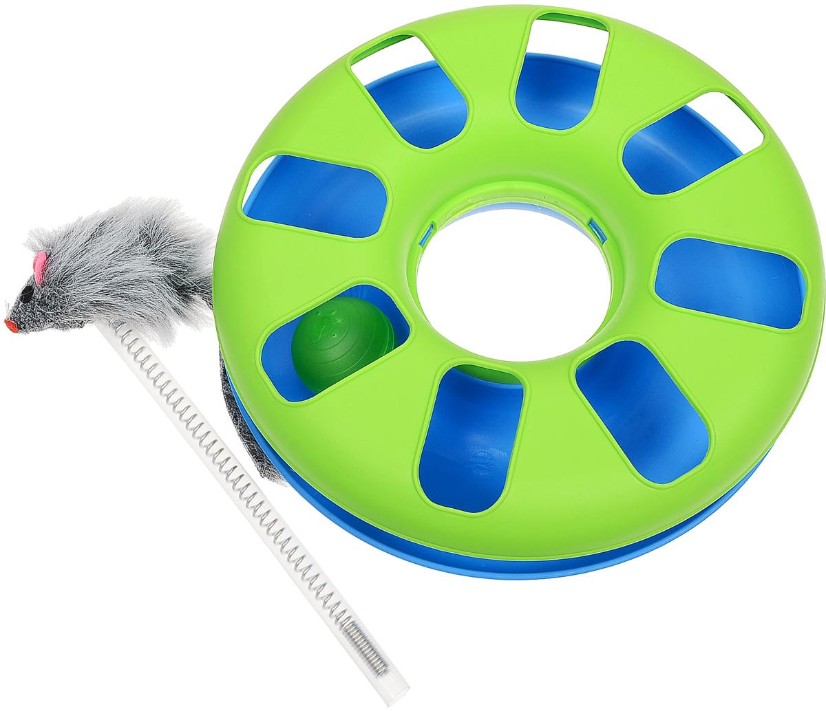 Игрушка Trixie, с мячиком и мышкой, цвет: салатовый, синий, диаметр 24 см игрушка trixie с мячиком и мышкой цвет салатовый синий диаметр 24 см