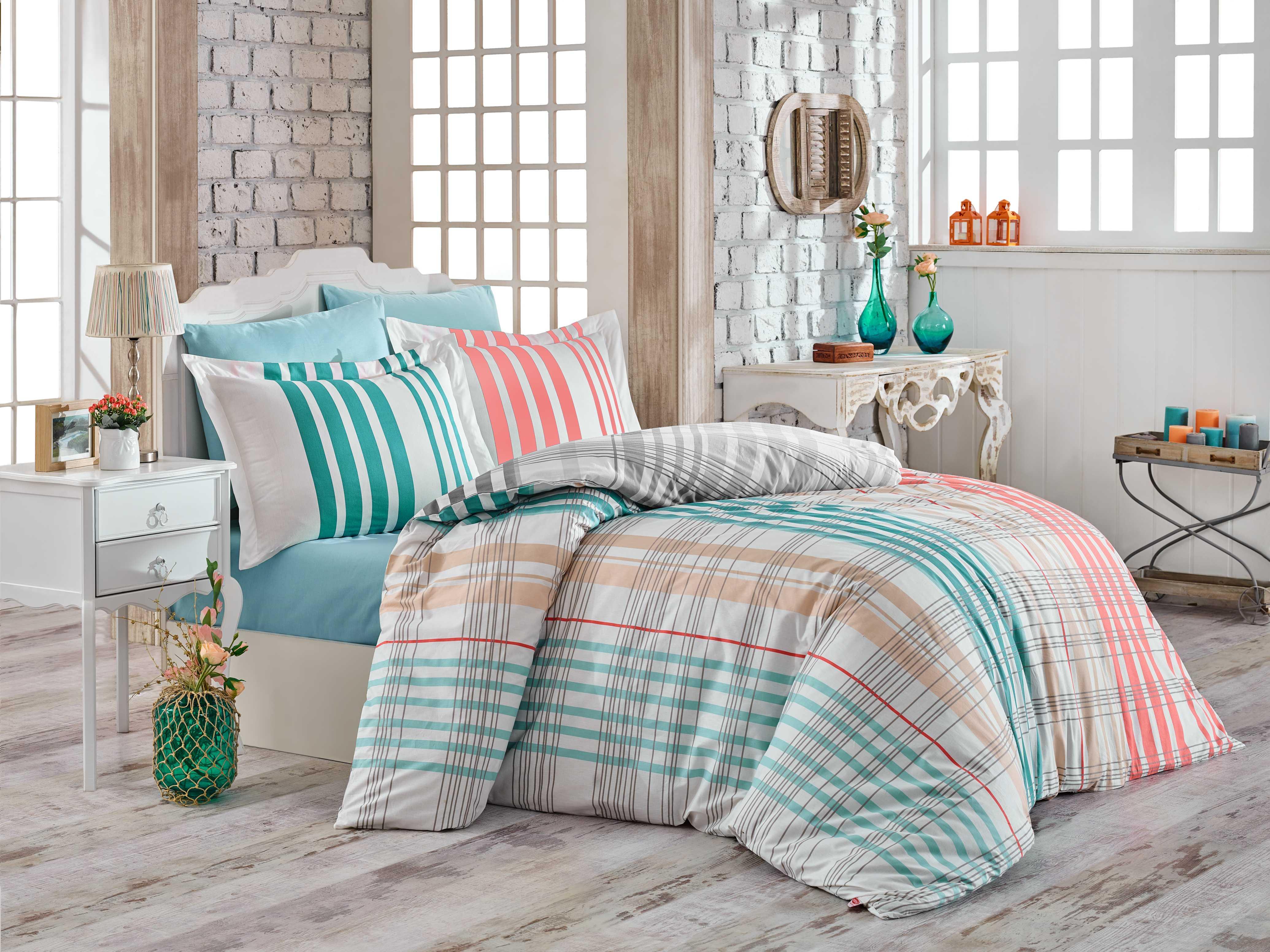 """Комплект постельного белья Hobby Home Collection """"Stripe"""", 1,5-спальный, наволочки 50x70, цвет: бирюзовый"""