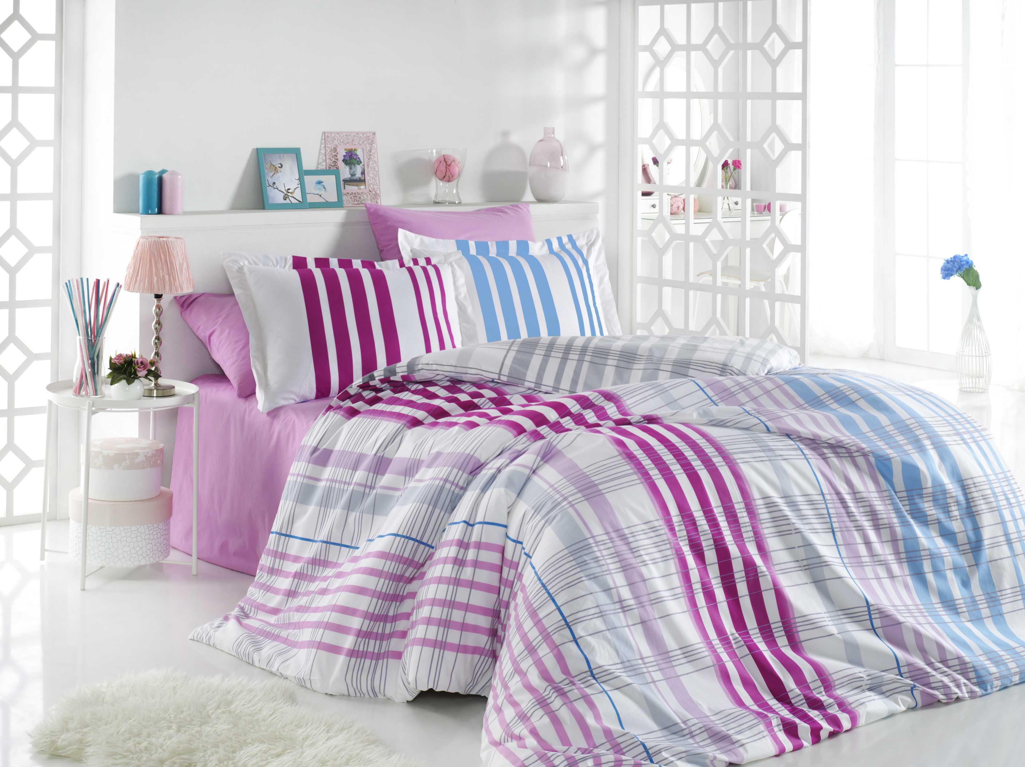 """Комплект постельного белья Hobby Home Collection """"Stripe"""", 1,5-спальный, наволочки 50x70, цвет: фуксия"""