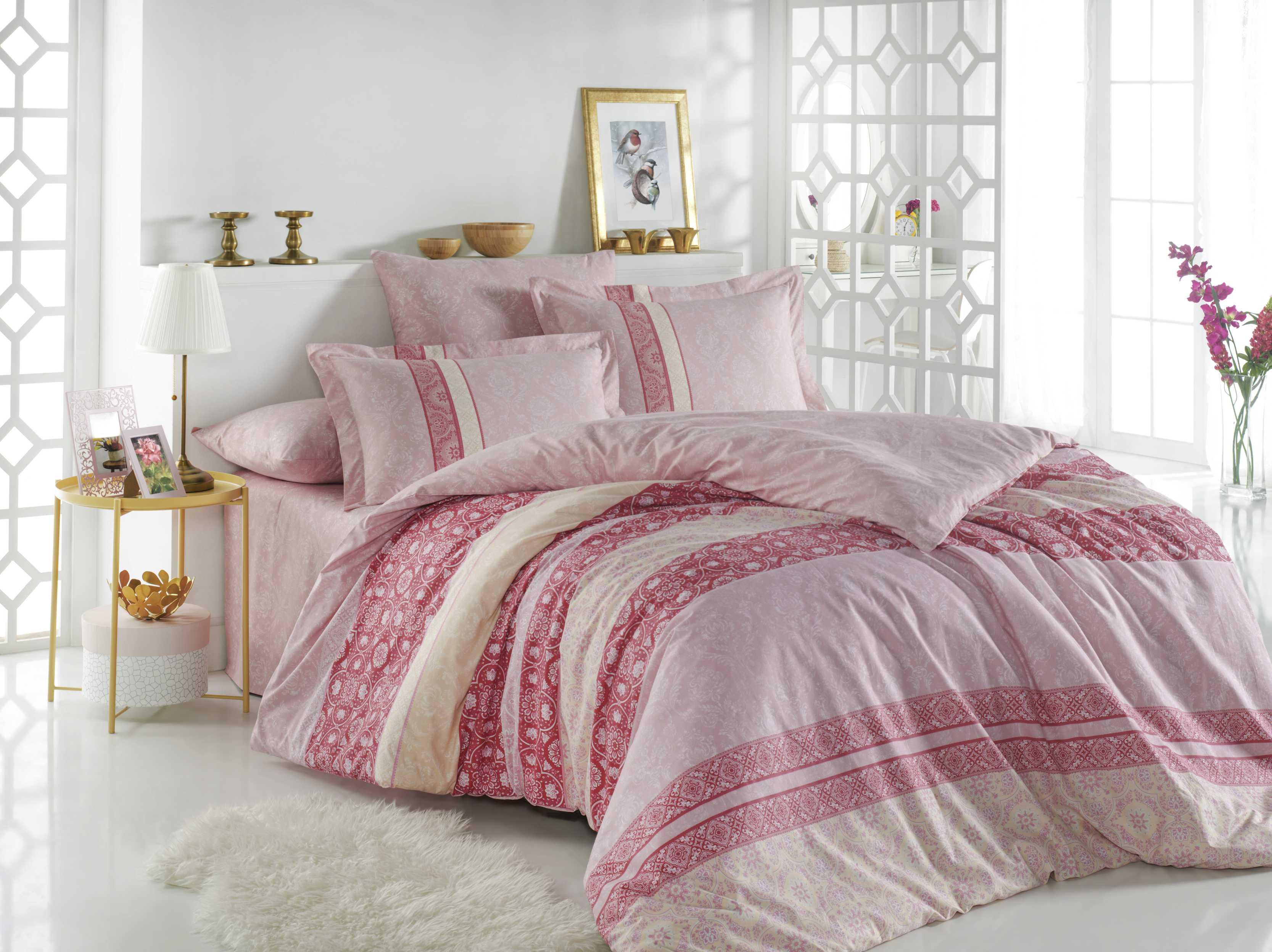 """Комплект постельного белья Hobby Home Collection """"Emma"""", 1,5-спальный, наволочки 50x70, цвет: розовый"""