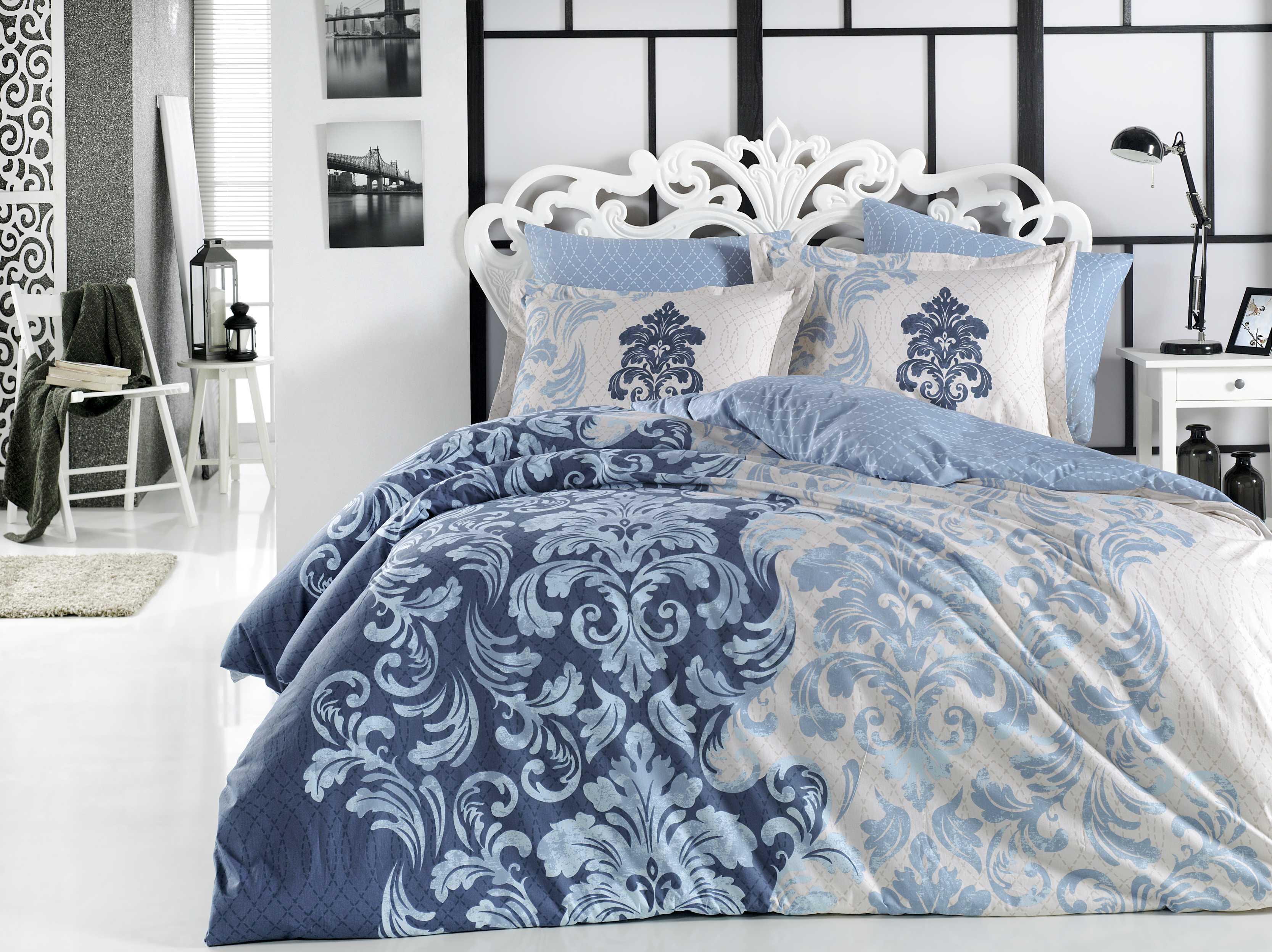 """Комплект постельного белья Hobby Home Collection """"Mirella"""", 1,5-спальный, наволочки 50x70, цвет: синий"""