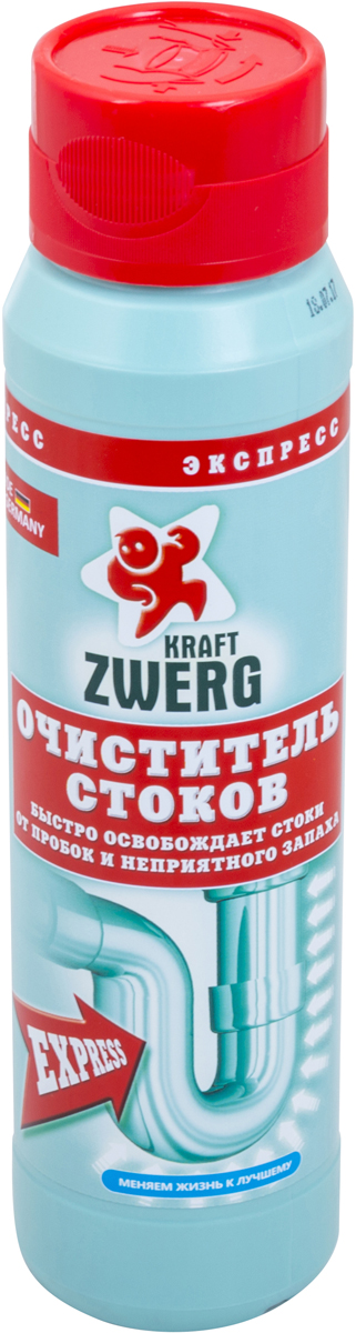 Очиститель стоков Kraft Zwerg, экспресс, 500 г удалитель известкового налета kraft zwerg 500 мл