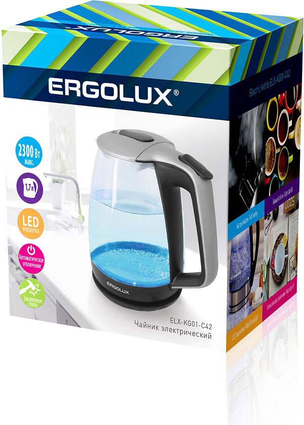 Электрический чайник Ergolux 13117, серебристый чайник ergolux elx ks01 c72 black 13120