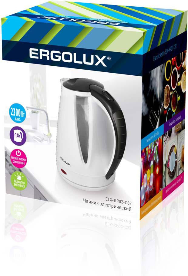 Электрический чайник Ergolux 13119, белый чайник ergolux elx ks01 c72 black 13120