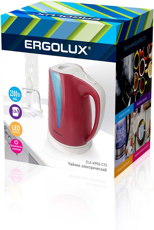 Электрический чайник Ergolux 13116, красный чайник ergolux elx ks01 c72 black 13120
