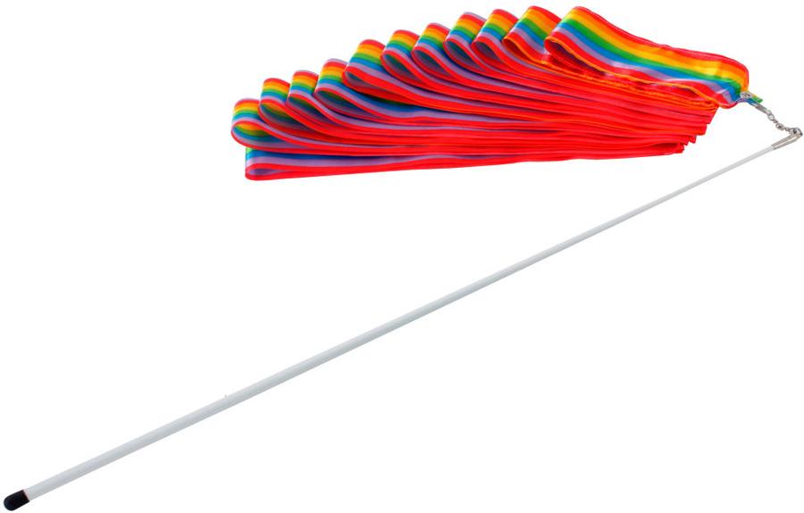 Лента гимнастическая Larsen, цвет: мультиколор, длина 6 м. 148980148980Гимнастическая лента – незаменимый атрибут выступлений на соревнованиях по художественной и спортивной гимнастике. Такую с виду специфичную деталь могут использовать дети дома во время танцев или на детском празднике. Гимнастическая лента состоит из шелковой ленты на пластиковой палочке – держателе.