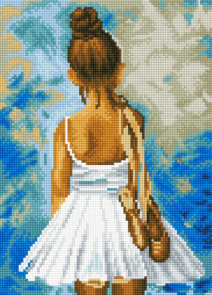 """Набор для создания картины со стразами Цветной """"Маленькая балерина"""", 30 х 40 см. LE013"""