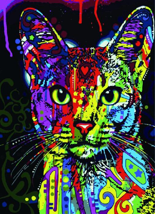 """Набор для создания картины со стразами Цветной """"Кошка поп-арт"""", 30 х 40 см. LE021"""