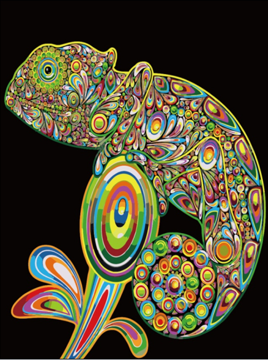 Набор для создания картины со стразами Цветной Хамелеон, 30 х 40 см. LE024 набор для создания картины из шерсти цветной единорог 20 x 30 см