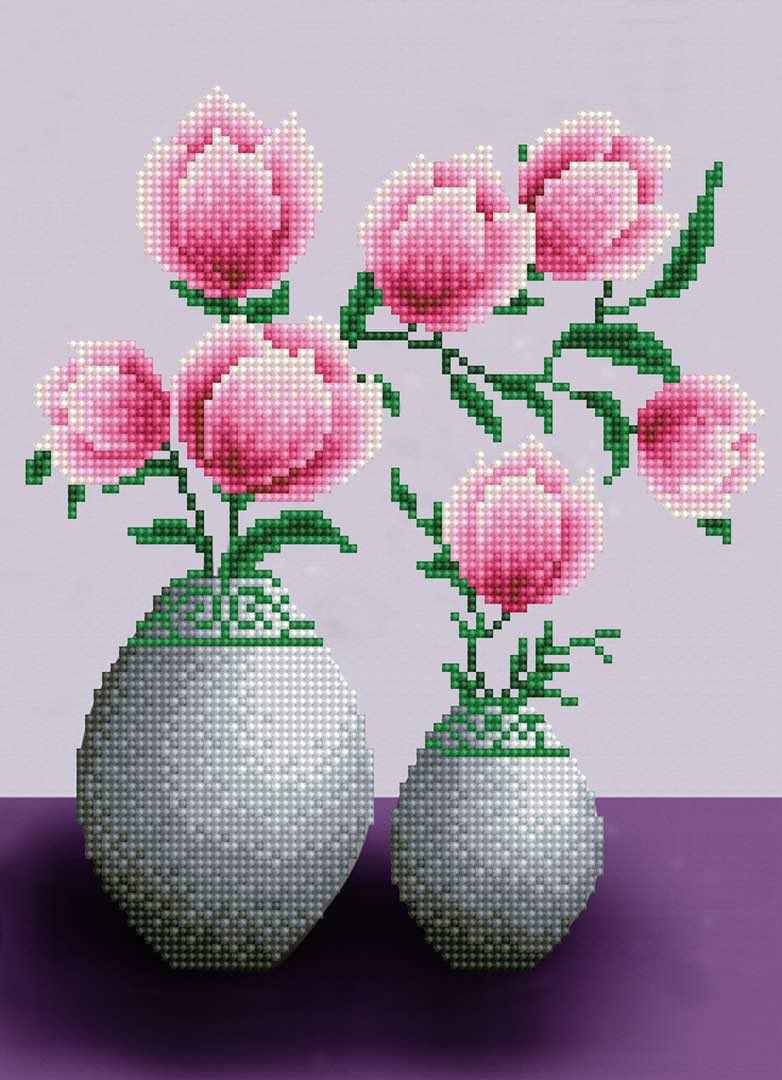 Набор для создания картины со стразами Цветной Тюльпаны, 30 х 40 см. LEP001 набор для создания картины из шерсти цветной единорог 20 x 30 см