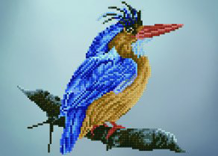 Набор для создания картины со стразами Цветной Птица на ветке, 30 х 40 см. LEP012 набор для создания картины из шерсти цветной единорог 20 x 30 см