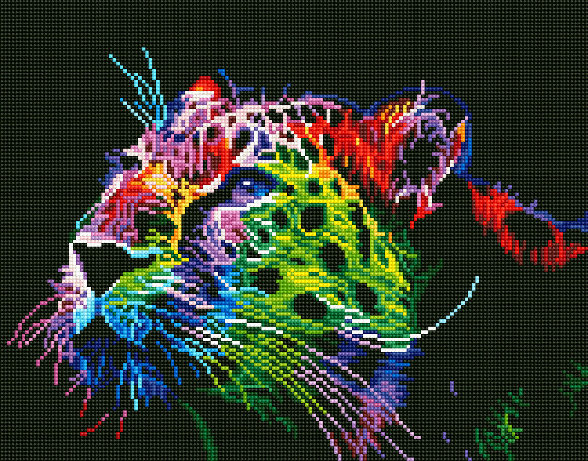 Набор для создания картины со стразами Цветной Неоновый леопард, 40 х 50 см. LG015 набор для создания картины из шерсти цветной единорог 20 x 30 см