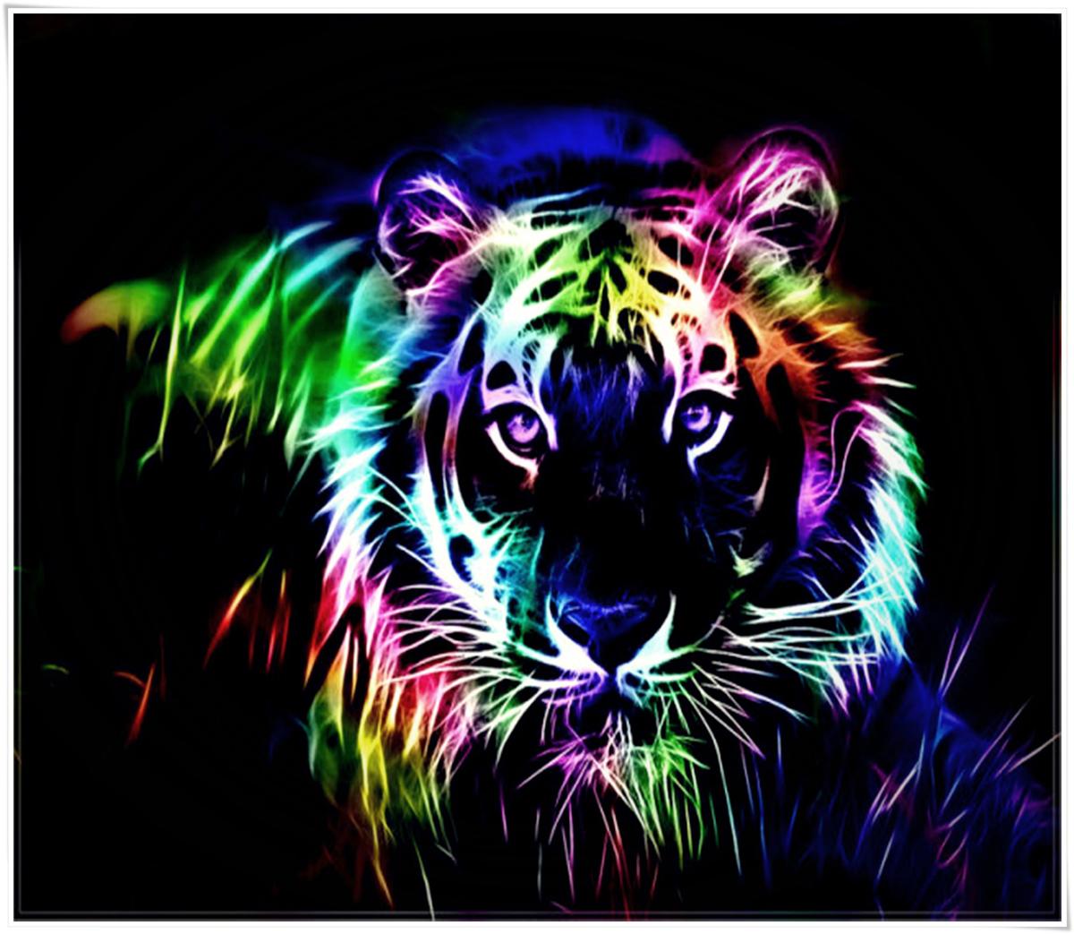 """Набор для создания картины со стразами Цветной """"Тигр поп-арт"""", 40 х 50 см. LG017"""