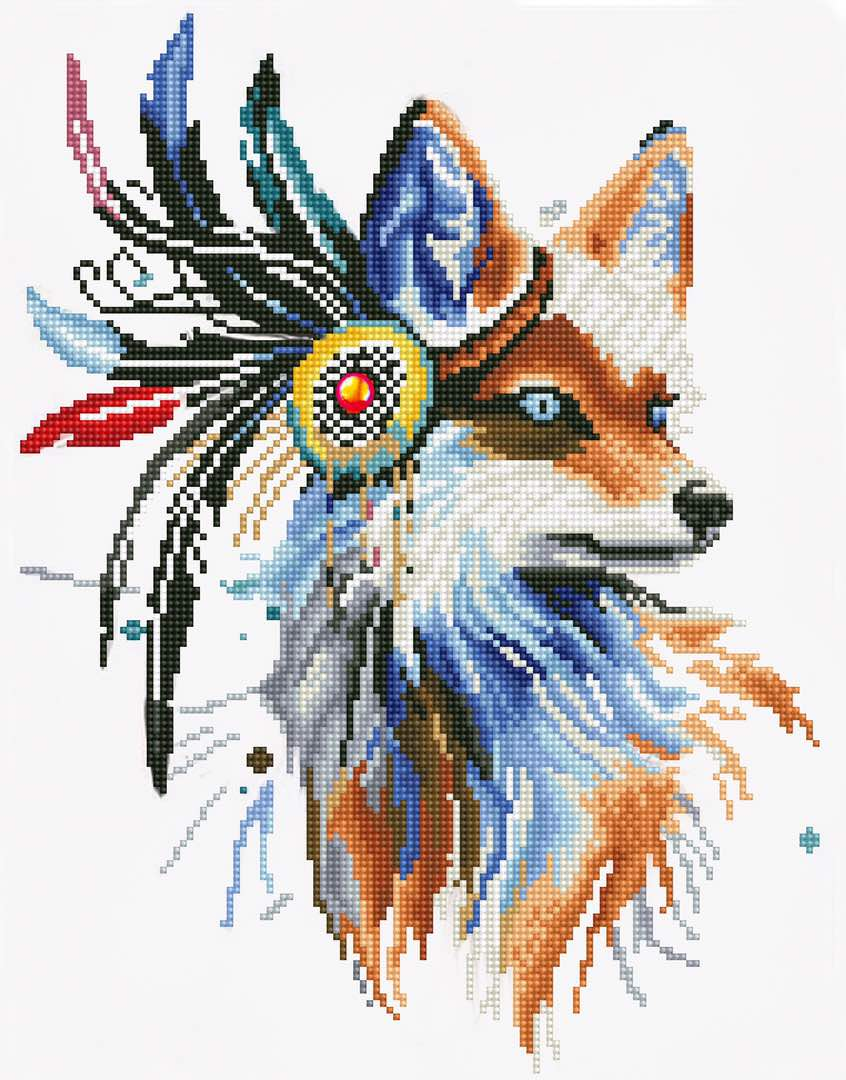 Набор для создания картины со стразами Цветной Лиса-индеец, 40 х 50 см. LGP002 набор для создания картины из шерсти цветной единорог 20 x 30 см