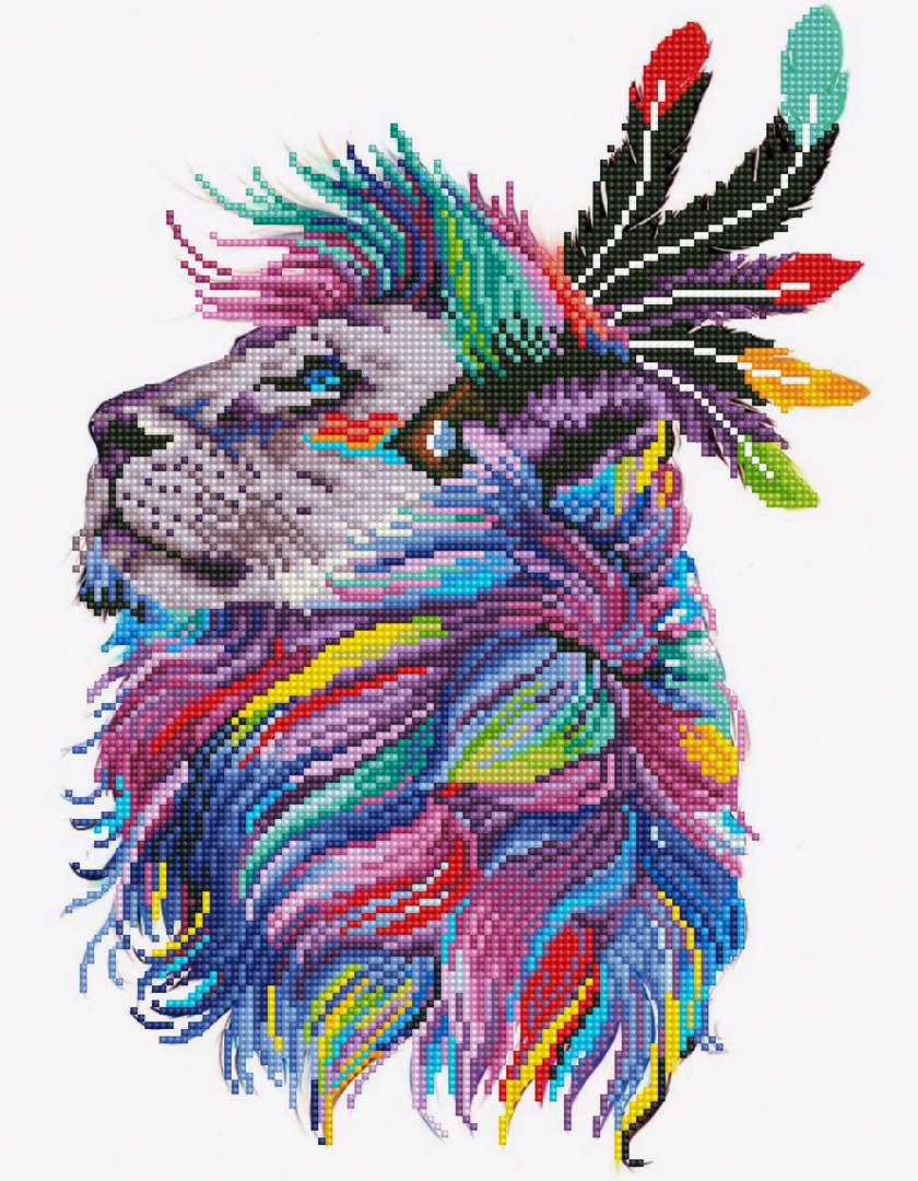 Набор для создания картины со стразами Цветной Лев-индеец, 40 х 50 см. LGP004 набор для создания картины из шерсти цветной единорог 20 x 30 см