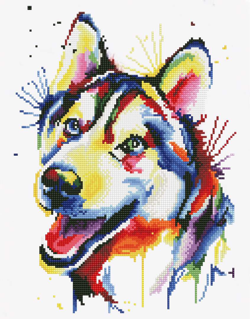 Набор для создания картины со стразами Цветной Разноцветный щенок, 40 х 50 см. LGP005 набор для создания картины из шерсти цветной единорог 20 x 30 см