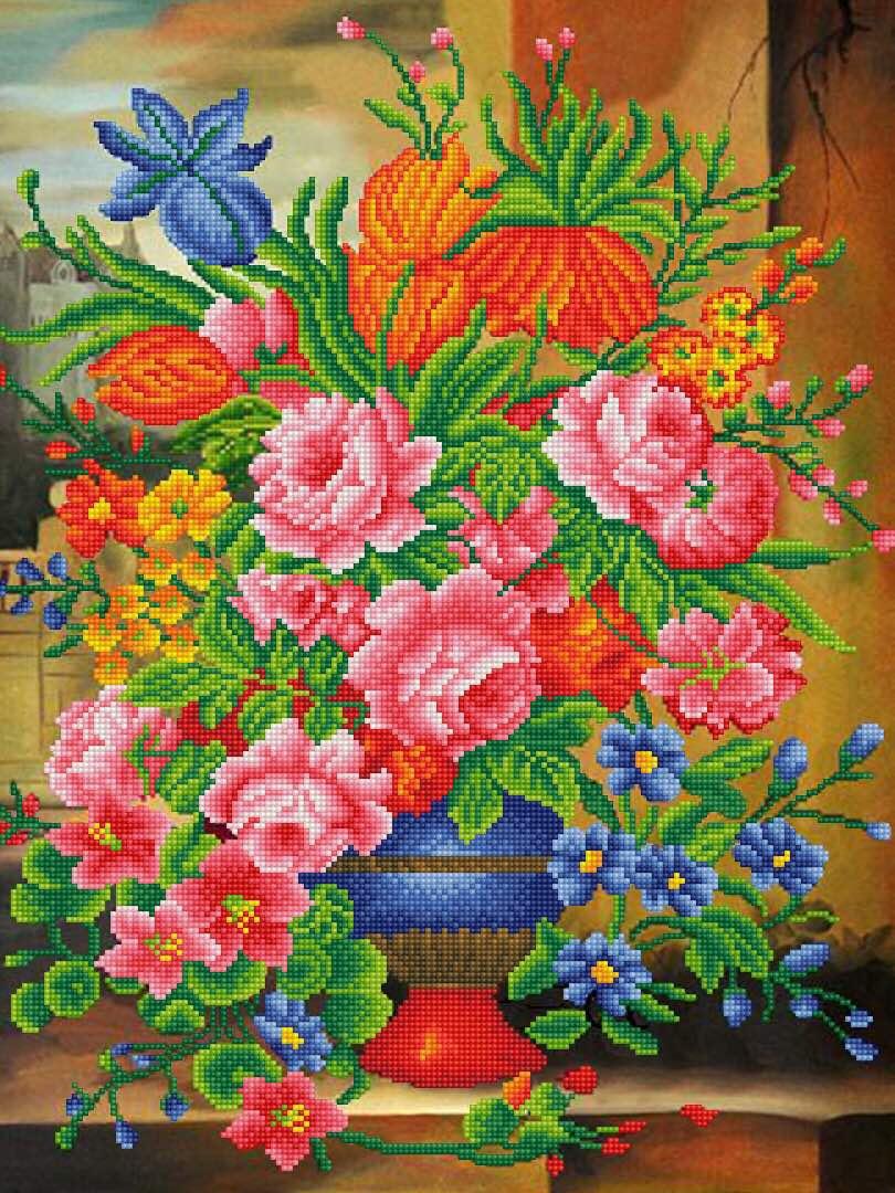Набор для создания картины со стразами Цветной Прекрасные цветы, 50 х 65 см. LMC001 набор для создания картины из шерсти цветной единорог 20 x 30 см