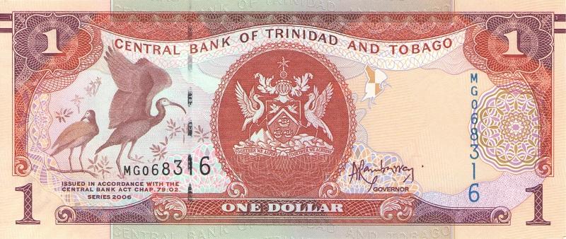 Банкнота номиналом 1 доллар (подпись тип 2). Тринидад и Тобаго, 2006 год банкнота номиналом 2 кордоба никарагуа 1972 год