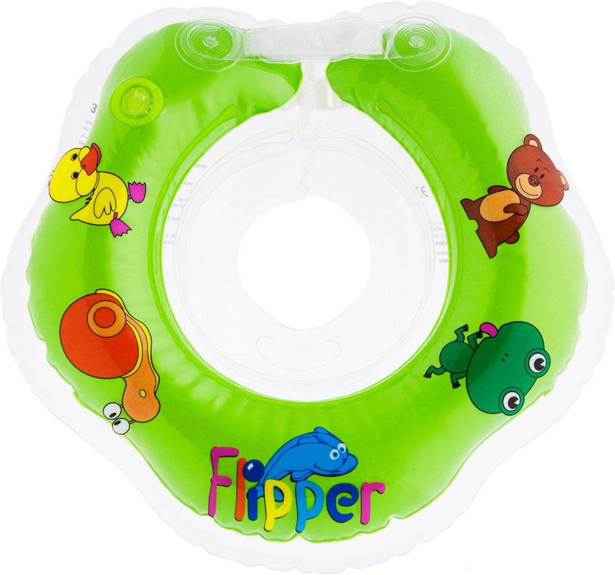 Круг на шею для купания Roxy-Kids Flipper, цвет: зеленый