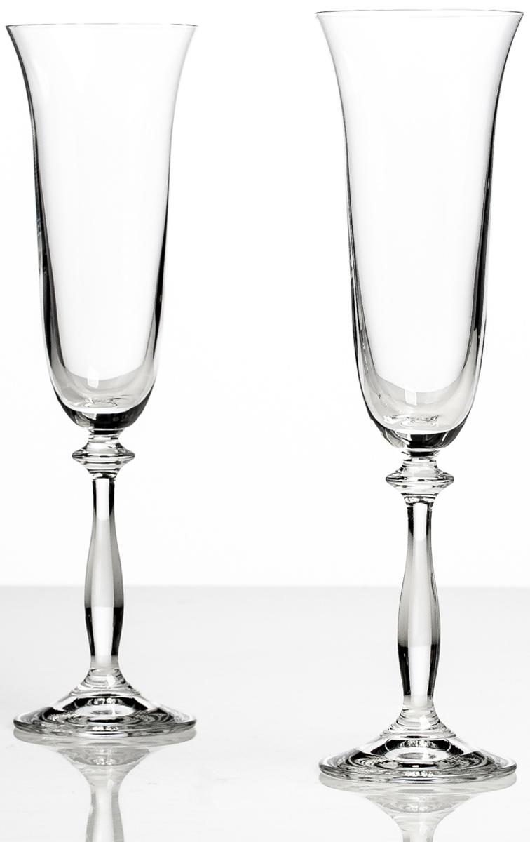 Набор бокалов для шампанского Bohemia Crystall Анжела, 190 мл, 2 шт арт нуво ваза bohemia crystall