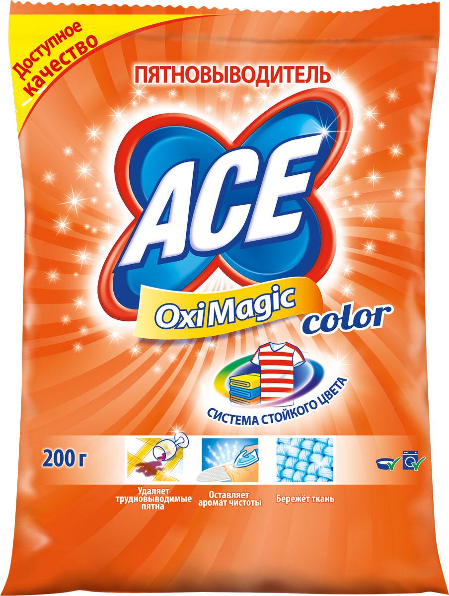 Пятновыводитель Ace Oxi Magic Color, 200 г vanish пятновыводитель для тканей порошкообразный 600 г