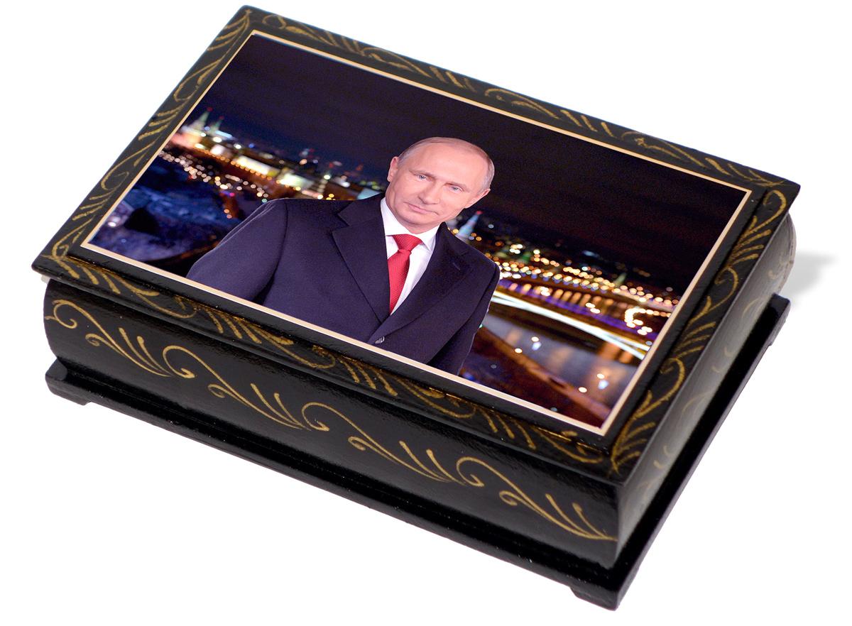 Кремлина Путин В. В. конфеты чернослив с миндалем в шоколадной глазури шкатулка подарочная, 300 г кремлина гагарин ю а чернослив шоколадный с грецким орехом конфеты 150 г
