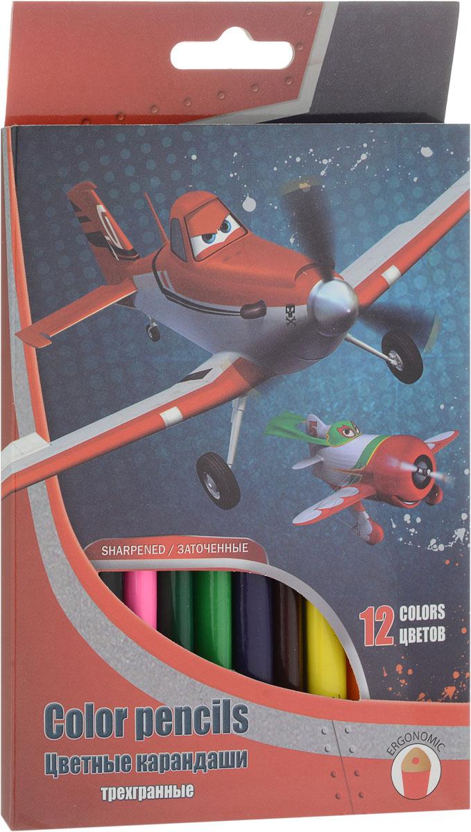 Набор цветных карандашей, 12 шт. (треугольные толстые). Цветные карандаши длиной 17,8 см; заточенные; розовое дерево; цветной грифель 4 Planes
