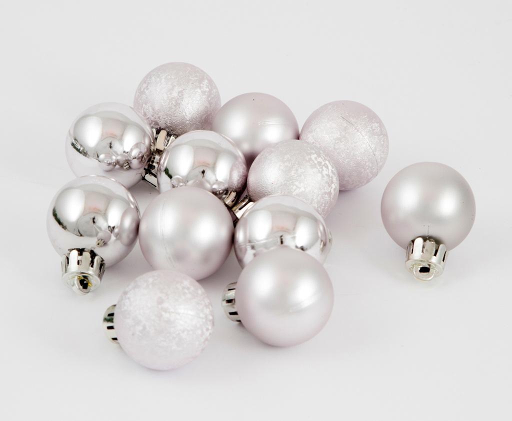 Набор ёлочных игрушек Шары, цвет: серебристый, диаметр 30 мм, 12 шт. 71066 набор ёлочных игрушек русские подарки шары цвет серебристый 8 см 4 шт