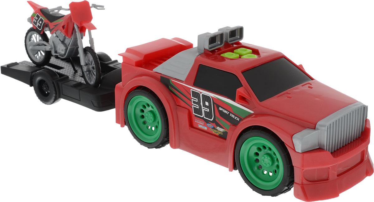 Toystate Машина с мотоциклом/квадроциклом на прицепе цвет красный