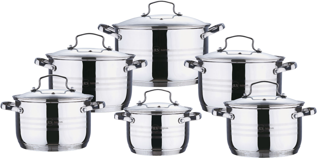 Набор посуды Rainstahl, цвет: стальной, 12 предметов. 1228-12RS/CW кастрюля gsw oslo с крышкой цвет серебристый 2 8 л