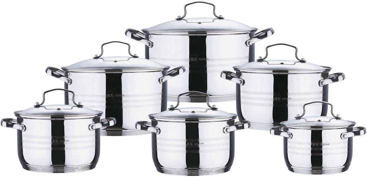Набор посуды Rainstahl, цвет: стальной, 12 предметов. 1227-12RS/CW кастрюля walmer nova с крышкой 2 5 л