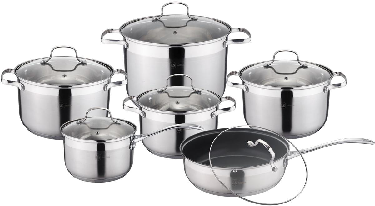 Набор посуды Rainstahl, цвет: стальной, 12 предметов. 1222-12RS/CW кастрюля gsw oslo с крышкой цвет серебристый 2 8 л